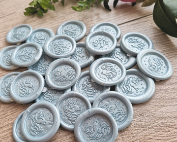 Blue 104 Pale pearl adhesive wax seal stickers
