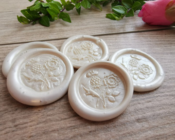 Pearl White wax seal stickers handmade