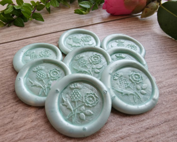 Cool Mint pearl wax seal stickers peel n stick handmade