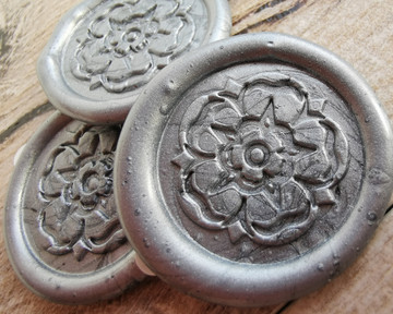Yorkshire Rose peel and stick wax seal stickers Silver