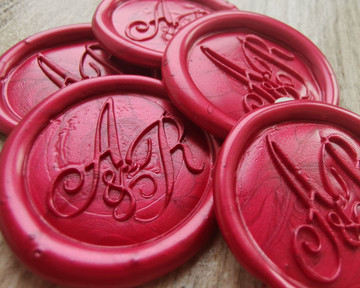 Bespoke Monogram Self Adhesive Wax Seal Stickers  Pearl Red