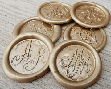 Bespoke Monogram Self Adhesive Wax Seal Stickers Pale Gold