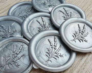 Lavender Wax Seal Stickers - Silver Pearl