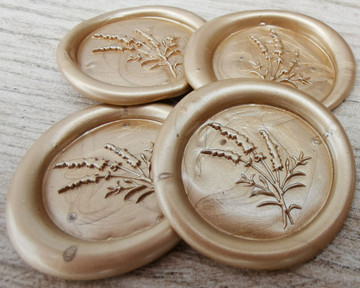 Lavender Wax Seal Stickers - Pale Pearl Gold