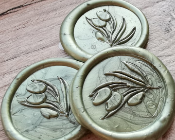 Olive Branch Self Adhesive Wax Seal Stickers Olive Green