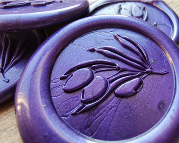 Olive Branch Self Adhesive Wax Seal Stickers Pearl Purple