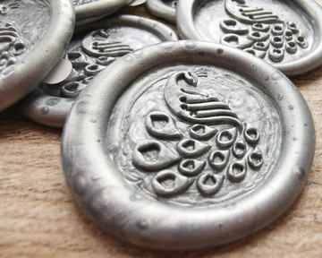 Peacock D1 Wax Seal Stickers Silver