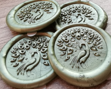 Peacock D2 Self Adhesive Wax Seal Stickers Olive Green
