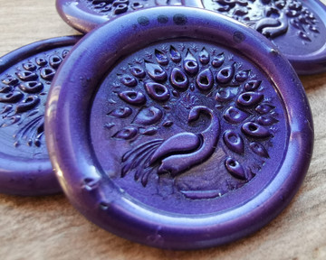 Peacock D2 Self Adhesive Wax Seal Stickers Pearl Purple