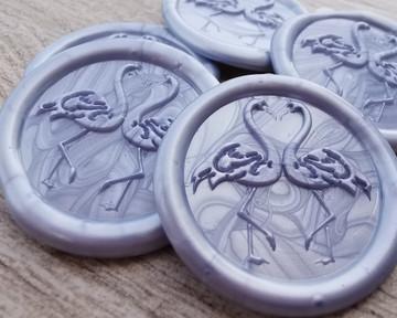 Flamingo self adhesive wax seal stickers - Pearl Cornflower Blue