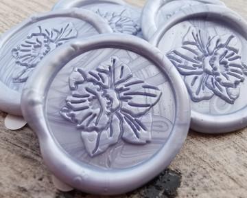 Daffodil Peel and Stick Self Adhesive wax seal stickers - cornflower blue