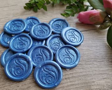 Blue 104 Dark pearl wax seal impressions