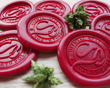 Santa Official Seal North Pole Monogram D1 Wax Seal Stickers Traditional Red