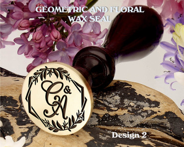 Geometric and Floral Monogram Wax Seal Stamp Design 2 Example C&A