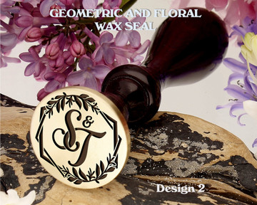Geometric and Floral Monogram Wax Seal Stamp Design 2 Example S&T