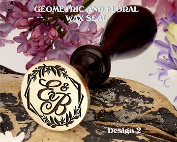 Geometric and Floral Monogram Wax Seal Stamp Design 2 Example E&B