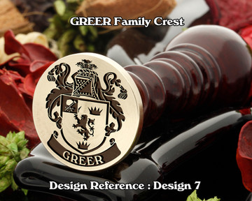 GREER Family Crest Wax Seal Stamp D7