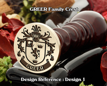 GREER Family Crest Wax Seal Stamp D1