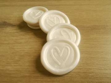 Contemporary Heart Peel and Stick wax seal sticker -  White Pearl