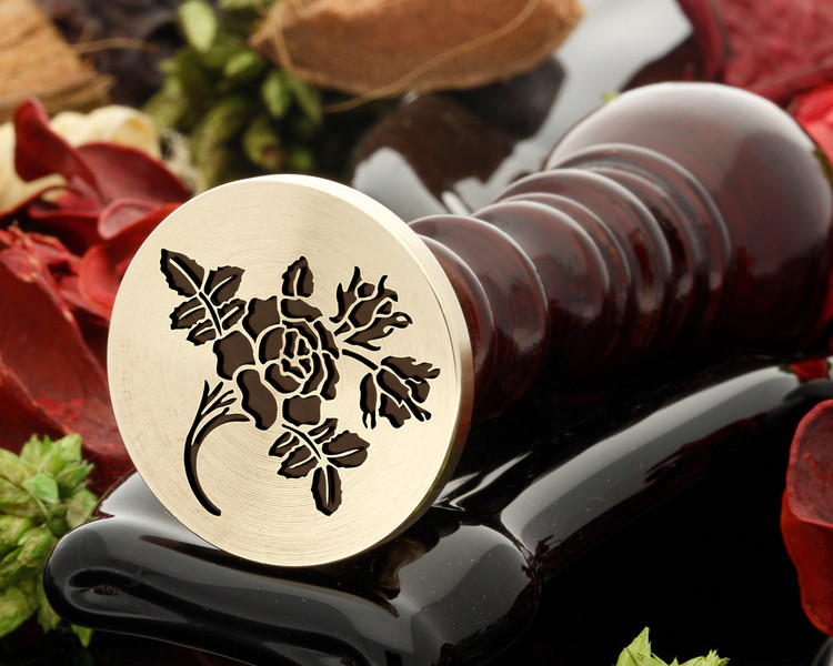 Rose 4 wax seal, reversed for engraving