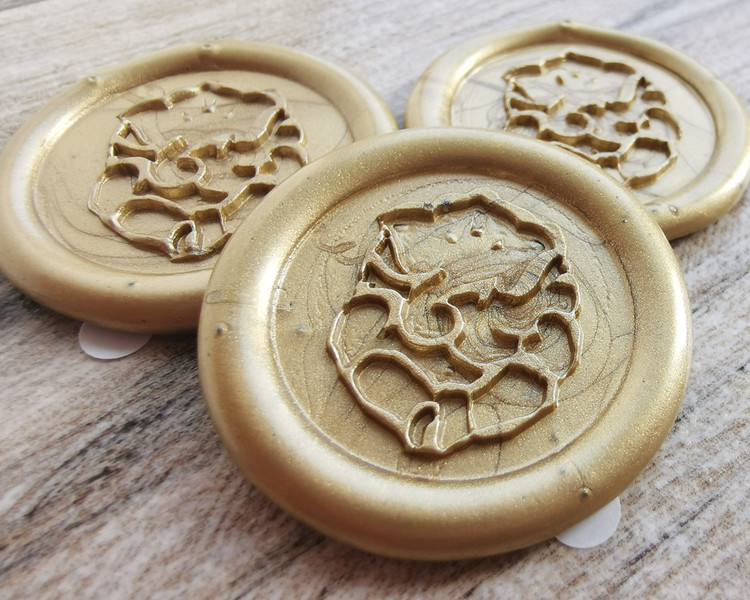 Ganesh Peel and Stick Wax Seal stickers - 9ct Gold