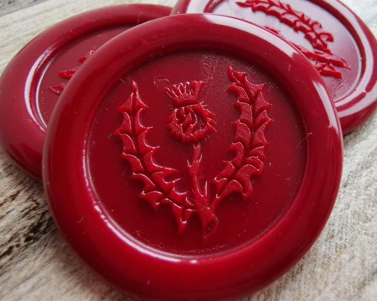 Thistle Adhesive Wax Seal Sticker - Traditional Red