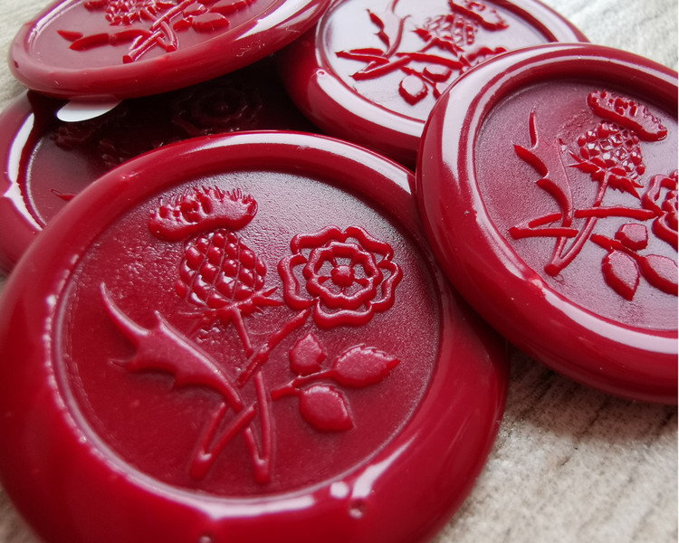 Scottish Thistle and English Rose Adhesive wax seal stickers Traditional Red
