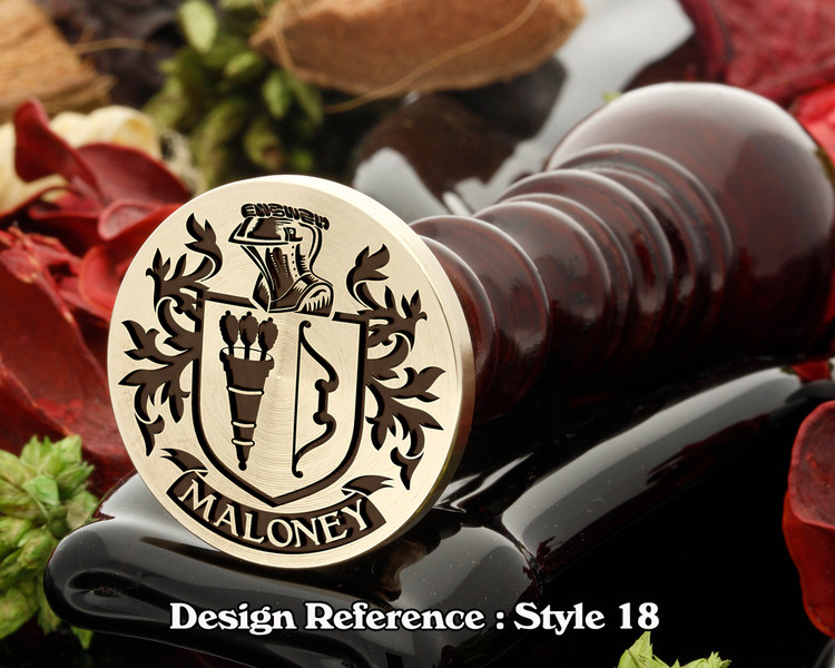 Maloney Family crest wax seal D18