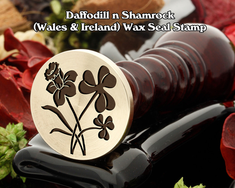 Daffodill n Shamrock (Wales n Ireland) Wax Seal Stamp ( daffodill on left in wax)