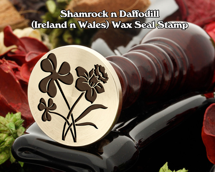 Shamrock n Daffodill ( Ireland n Wales ) Wax Seal Stamp - Shamrock on left in sealing wax