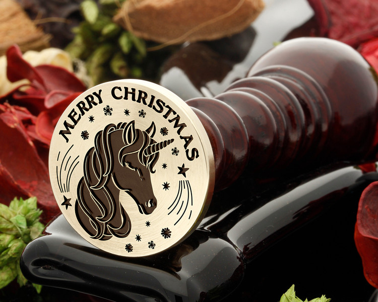 Merry Christmas Unicorn Wax Seal from 25mm