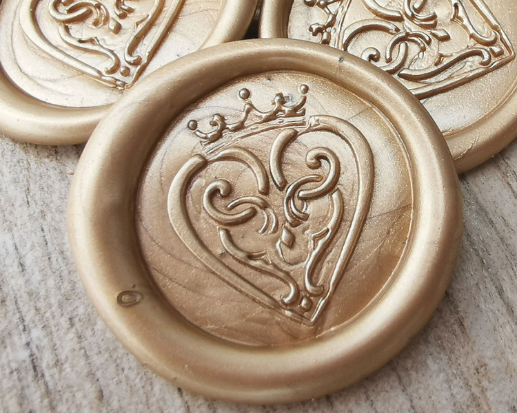 Luckenbooth Scottish Wedding Peel and Stick wax seal sticker - Pale Gold