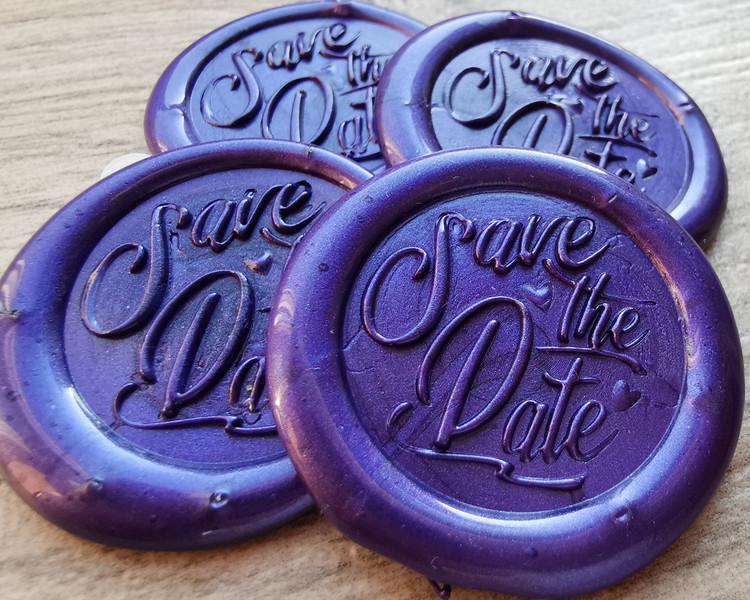 Save the Date Wedding Wax Seal Self Adhesive Sticker Pearl Purple