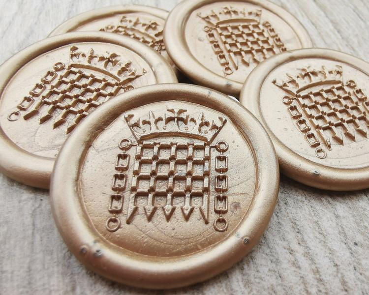 Portcullis handmade peel n stick wax seal stickers