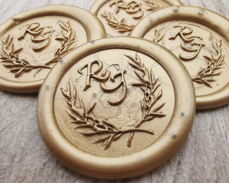 Monogram Wreath design wax seal stickers