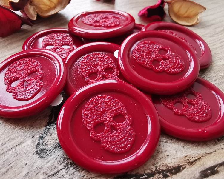 Mexican Sugar Skull handmade peel n stick wax seal stickers - Traditional Red