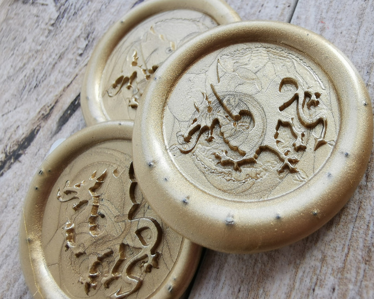Dragon D9 Peel and Stick Wax Seal Stickers 9ct Gold