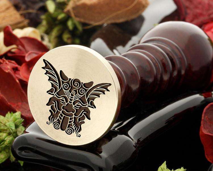 Gargoyle wax seal, reversed for engraving