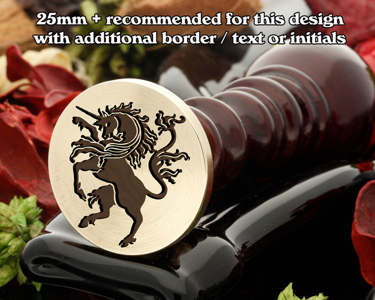 Heraldry Unicorn Rampant D1 Wax Seal