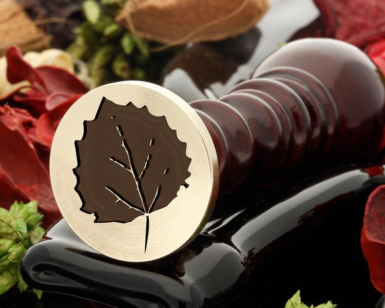 Aspen leaf wax seal stamp