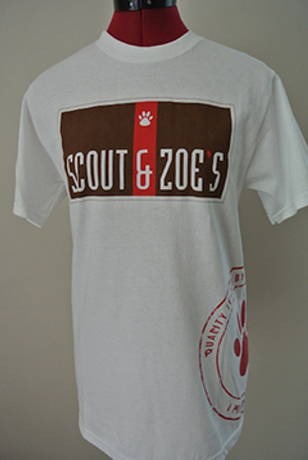 White t-shirt with Scout & Zoe's logo