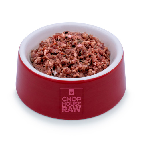 Raw Beef with Veggies Grind in a bowl - angled