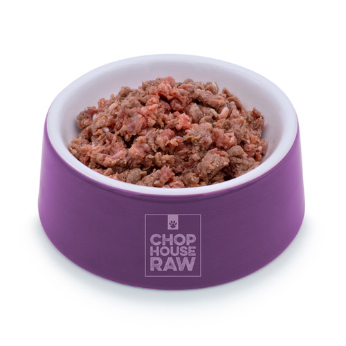 Raw Beef with Mackerel Grind in a bowl - angled