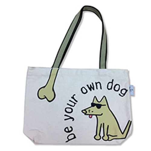 Tote bag with a dog wearing glasses