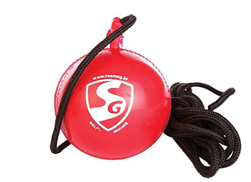 PVC ball with a cord Helps the batsman in practicing and mastering hand eye co-ordination Material: synthetic Water resistant