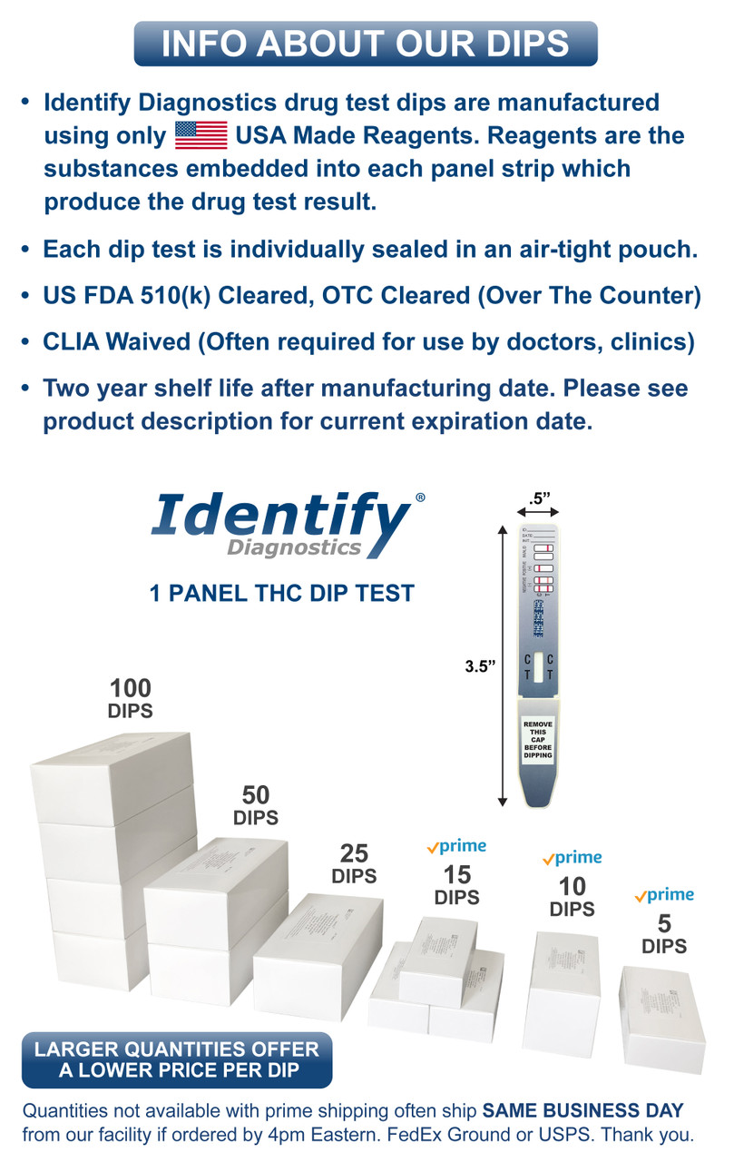 1 Panel Thc Drug Test Dip Identify Diagnostics Drug Testing Kits Clia Waived