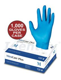 NitraCare Plus 100 - Power-Free Non-Sterile Nitrile Exam Gloves ID - 1000 gloves per case
