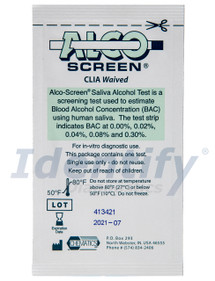 ALCO Screen Saliva Blood Alcohol Test Strip CLIA Waived 55001-25