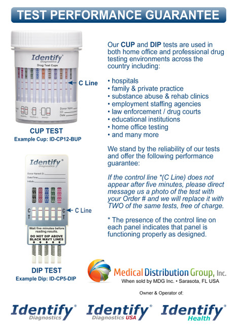 Identify Diagnostics Drug Test Dips and Cups - PRODUCT PERFORMANCE GUARANTEE