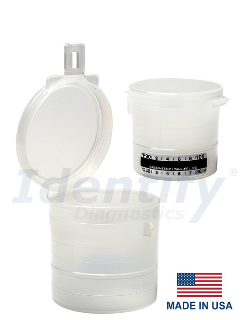 Snap Lid Urine Collection Cups 90 ML non sterile - Flip Top with hinged latch - Capitol Vial - MADE IN USA